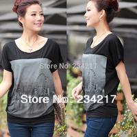 summer of 2014 women girl  black cotton shirt Restoring ancient ways printing short sleeve T-shirt  ladies fashion large sizes