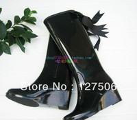Free shipping fashion PVC wedges zipper boots women rain boots girl rainboots gumboots waterproof rain boots wellies women
