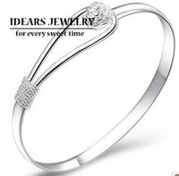 IDEARS/ new design 925 pure silver  bangles female rose cord lock pure silver bracelet brief IDSB018