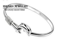 IDEARS/new design 925 pure silver bracelet dolphin cord lock pure silver bracelet female brief IDSB019