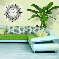 Brilliant home decoration big wall clocks iron frame rhinestone wall clock modern home decor silent movement metal crafts