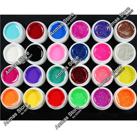 24 Pcs Mix 12 Pure 12 Glitter Color UV Builder Gel for Nail Art Fasle Tips Set