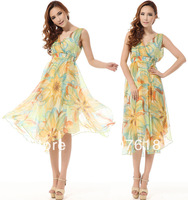 Elegant New Fashion Women Sexy V-Neck Mulberry Silk Dress Floral Print Knee-Length Dress Ball Gown
