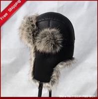 Free shipping  winter Macrotrichia thickening PU mens bomber hat  thermal skiing ear protector cap H0010