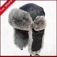 Free shipping 2013 winter men's Bomber Hats Genuine leather lei feng cap thermal cold-proof skiing hat H0018