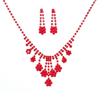 Red Crystal Flowers Jewelry Sets Earring Tassel Necklace Factory Supply Weeding Noble Jewelry Sets