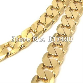 "Wholesale Low Price Heavy Men's Necklace 24k Yellow Gold Filled Necklace 22.8""12mm 94g  Solid Curb Chain Link GF Jewelry"