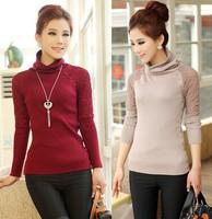 Free Shipping 2015 Hot Selling New Warm Turtleneck Autumn Winter Spring Women Wool Sweater Elastic Slim Long Sleeve Cardigan