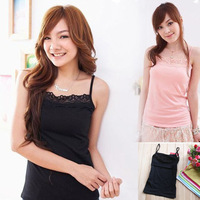 2013 New Women Lady Single-side Plain Cotton Lace Camis Tank Tops,