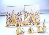 free shipping New 50pcs Gold Ribbon Wedding favour box Party Candy Box Favor Gift Boxes wedding box