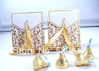 free shipping New 50pcs Gold Ribbon Wedding favour box Party Candy Box Favor Gift Boxes wedding box