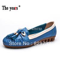 Free shipping 2014 women's autumn shoes flat heel single shoes female flat casual shoes nvchen sheepskin shoes low-top Moccasins