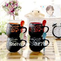 free shipping zakka cheap coffee mug with spoon Creative matt black milk cup high quality