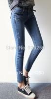 denim jeans pant women fashion 2014 autunmn winter cotton pencil slim trouser washed skinny distressed blue long pant low waist