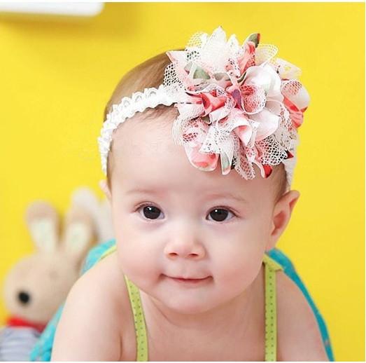 Free Shipping Baby Chiffon Flower Headband Girls Lace Headband Infant Knitting Hair Weave Baby Hair Accessories Gift TPF0005(China (Mainland))