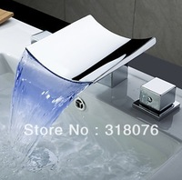Faucetqing Color Changing LED Waterfall Widespread Bathroom Sink Faucet (Chrome Finish) Free Shipping