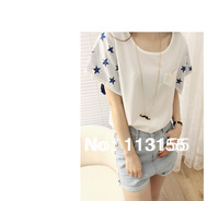 2013 new Korean version of the new women's Creative geometric star hollow sleeve Short sleeve Round neck chiffon T-shirt #9022