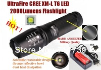 UltraFire Hard anodized CREE XM-L T6 2000Lumens 5-Mode LED CREE Flashlight T6 Torch + 6800mAh 26650 Battery charger
