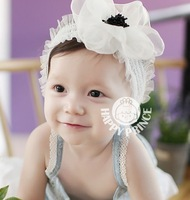Wholesale Child lace hair band baby gauze flower hair accessory  hair bands  female child headband