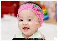 Wholesale lace fabric sticker strawberry baby girl headband baby hair accessories hair bands children