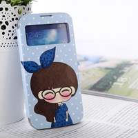Freeshipping cute Cartoon Style Leather Case For i9500 phone case Samsung Galaxy  S4 Smart Phone leather case