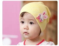 Wholesale Dot cartoon rabbit pocket child hat baby hat baby knitted hat ear protector cap newborn hat 0 - 2