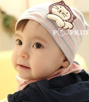 Wholesale cotton child hat pocket baby hat baby hat stripe knitted hat spring and autumn ear protector cap 0 - - 2
