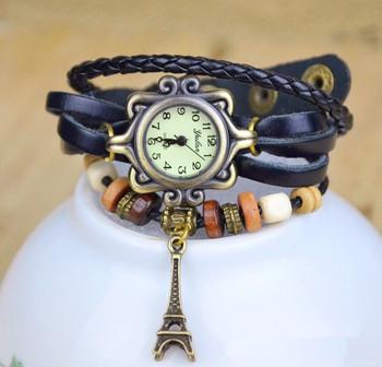 2015 New Designer High Quality Women Genuine Leather Vintage Watch Eiffel Tower Pendant Bracelet Watches Relogio Feminino