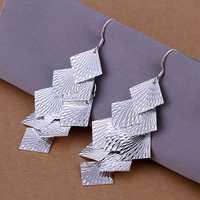 Lose Money!!Wholesale 925 Silver Earring,925 Silver Fashion Jewelry square chain eardrop Earrings SMTE237