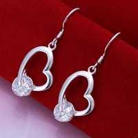 Lose Money!!Wholesale 925 Silver Earring,925 Silver Fashion Jewelry Inlaid Heart Earrings SMTE150