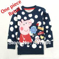 Free Shipping New Arrival Nova Kids Peppa Pig Girl Clothing 100%Cotton Fashion Baby Girls Cartoon Polka Dot Sweatshirt 2-6Years
