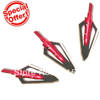 12pcs/lot Red color hunting broadheads with 2 blades for carbon arrow 100-grain broadhead archery arrowheads