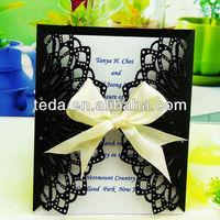 Romantic Ivory Ribbon Black Wedding Invitations Kits Cards+ Envelopes