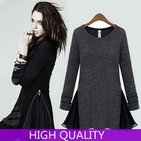 2014 Autumn New Fashion O-Neck Knitting Fleece Slim Side Zipper Patchwork Chiffon Long-Sleeve Above-Knee Women Dress in Stock
