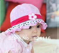 BB35 2pcs/lot Baby Girl Fashion Gift Cotton Sun Hats Summer Hat Falbala Hat Flower Nice Baby Accessory