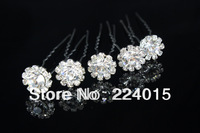 Free Shipping !20 pcs /13*13mm Drill Clear Crystal Rhinestone Flower Hairpin Clips For  Bridal Hair Wedding Jewelry Findings