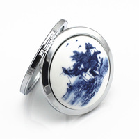 Ceramic -sided folding mirror portable mirror china style Landscape painting mirror