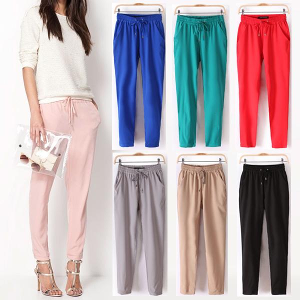 Livraison gratuite 2014 été, new women's pantalons sport/mode sexy mousseline. élastiques, ceinture, rainbow'pantalon/pantalons,