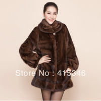 Free Shipping 2013 mink fur coat medium-long marten overcoat Women