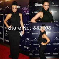 Customize Kim Kardashian Black Stretch Sheath Free Shipping Celebrity Dresses Red Carpet Dresses