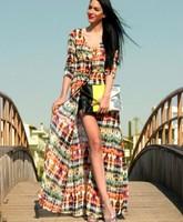 QZ160 New arrival Fashion Women Elegant Vintage Floral Print Maxi Dresses Slim Bohemian Beach evening party designer dresses