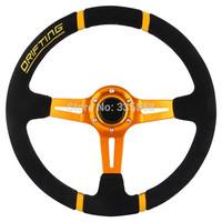Optional Multicolor Universal 350MM Deep Dish Suede Steering Wheel