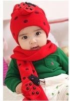Free Shipping Fashion Cool Baby Hat Scarf /Set Children Winter Wool Snow Knit Beetle Scarf Hat, For Kid Christmas Gift CL0204