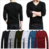 Free Shipping 2013 Men's 100% Cotton Long Sleeve T-Shirt Casual 6 Colors 5pcs/lot