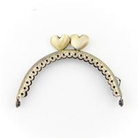 "High Quality 3.3"" 8.5cm bronze embossed heart hasp bag handle purse frames diy accessory 20psc"