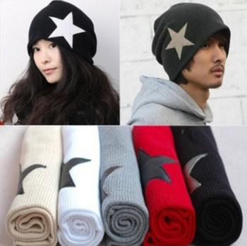 20 Pcs/Lot HK ! 2013 Wholesale! Unisex Men's Crochet Star Beanie Hat Skull Cap Ski Knit Winter Women Hats Black/Red for Xmas