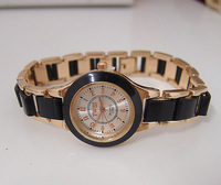 Women  Rose Gold  Stainless Steel Watch, wholesale fashion Analog Quartz Wrist Watches Ladies SQW6