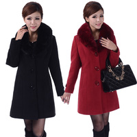 5XL Quinquagenarian women's mother plus big size warm overcoat slim woolen fur collar autumn winter wool coat women SC8063