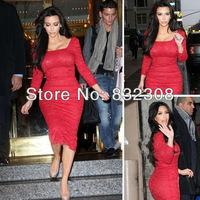 Customize Kim Kardashian Sequare Neck Long Sleeves Sheath Lace Celebrity Dresses Red Carpet Dresses