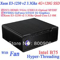 games computer with Xeon E3-1230 v2 Quad Core 8 threads intel B75 NVIDIA GeForce GT610 1G graphics 4G RAM 120G SSD alluminum